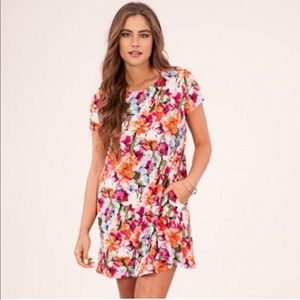 Peach Love Floral T-shirt Dress with Pockets
